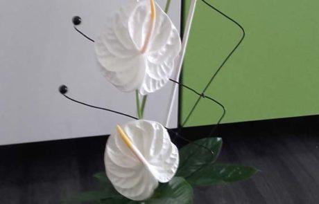 Composition florale blanche Silvère D'Fleurs Fontenay-le-Comte Vendée