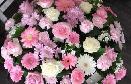 Composition deuil Coussin Pastel rose D'Fleurs Fontenay-le-Comte Vendée